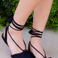 Antonia Lace Up Flats - Black