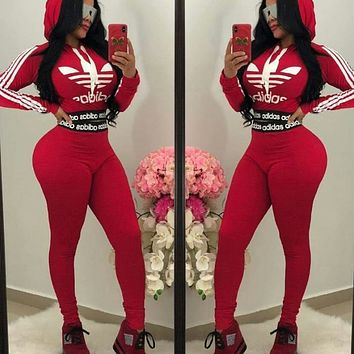 Adidas Fashion Casual Print Hoodie Top Sweater Pants Trousers Set Two-piece