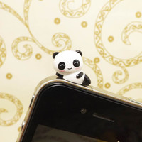 Kawaii Recumbent Smiling Little Panda Bear Dust Plug 3.5mm Phone Accessory Charm Headphone Jack Earphone Cap iPhone 4 4S 5 iPad HTC Samsung