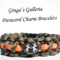 Under Armour Antler Theme Camo & Orange Paracord Charm Bracelet