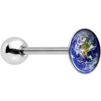 Stainless Steel Vivid Earth Orbit Logo Barbell Tongue Ring | Body Candy Body Jewelry