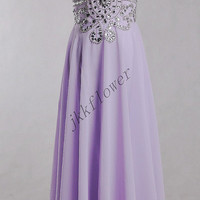 Long Lavender Backless Prom Dresses,Sliver Beaded Crystal Prom Dresses 2015,Evening Dresses,Bridesmaid Dresses,Homecoming Dresses