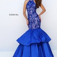 Sherri Hill 50266 Blue Tiered Mermaid Evening Gown