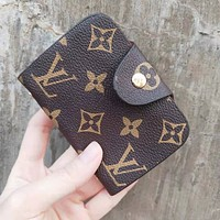 Louis Vuitton LV Retro Fashion Women Men Leather Handbag Card Package Business Bag Makeup Bag Clutch Bag