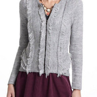 NWT ANTHROPOLOGIE by SPARROW TIERED TUFTS GRAY CARDIGAN M