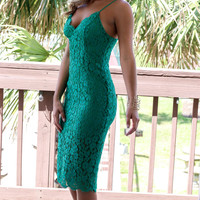 Tulum Beach Emerald Green Lace Dress