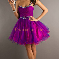 purple One Shoulder Prom Dresses Tulle Prom Dress Cocktail Dresses Party Dresses Manual nail bead
