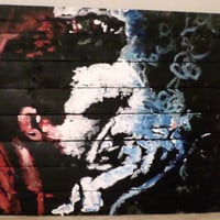 Large Reclaimed Wood Art, Johnny Cash Art, Rustic Country Decor, Red White and Blue Art, Americana Art, Large Wall Art, American Art
