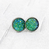 Green Druzy Stud Earrings, Faux Druzy Earrings, Green Druzy Studs, Mermaid Earrings, Green Drusy Jewelry, Green Druze Earrings, Rock Jewelry