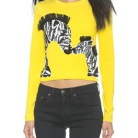 Khan Zebra Love Cropped Sweater
