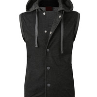 LE3NO Mens Casual Button Down Vest with Detachable Hoodie