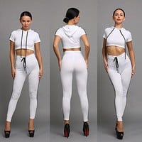 Splicing Hooded Crop Top with Skinny Pants Two Pieces Set