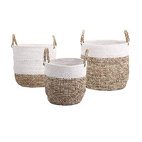 Shoelace and Raffia Woven Baskets - Set of 3