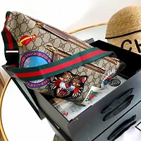 Gucci spring and summer new embroidery pattern women's waist bag chest bag shoulder bag