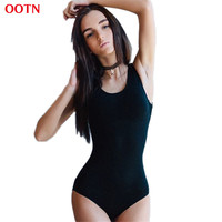 OOTN 2017 Summer women's casual cotton O-Neck skinny solid bodysuits Fashion summer high quality black knitted leotard jumpsuits