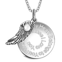 My Heart Belongs to You Forever Inspirational Pendant White Cats Eye Angel Wing Amulet 18 Inch Necklace