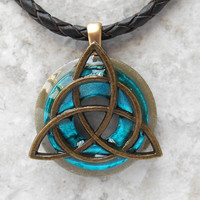 triquetra necklace: bright blue - mens jewelry - celtic jewelry - leather necklace - unique jewelry - boyfriend gift - mens necklace