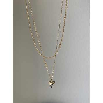 Shark Tooth Charm Pendant Layered Necklace