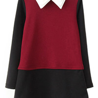 ROMWE Tri-layered Collar Color Block Red Shift Dress
