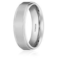 6MM Titanium Matte Step Edge Promise Ring