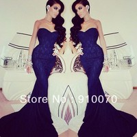 Popular Arabic Navy Blue Lace With Appliques Sweetheart Sleeveless Mermaid Long Prom Dresses 2014 Long Fishtail-in Prom Dresses from Apparel & Accessories on Aliexpress.com | Alibaba Group