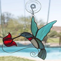 Hummingbird Stained Glass Sun Catcher for Window - Perfect Gift Idea for Hummingbird Lovers!