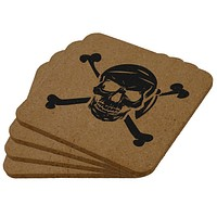 Jolly Roger Pirate Skull And Crossbones Square Cork Coaster (Set of 4)