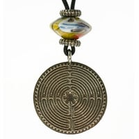 Chartres Meditation Labyrinth Pendant with Cord and Bead | Whisperingtree.net