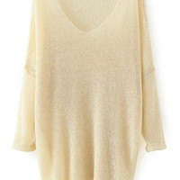 Beige V-Neckline Drop Shouldered Sheer Knitted Loose Fitting Sweater