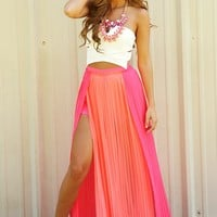 Pleated Peace Maxi Skirt: Hot Pink/Peach