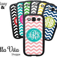 Monogrammed Samsung Galaxy S3 S4 Case, Chevron Custom Personalized Case for Galaxy S3 S4