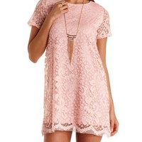 Pink Short Sleeve Lace Shift Dress by Charlotte Russe