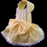 Little Miss Sunshine, Couture Yellow Embroidered Dog Dress, Lace Trim