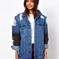 ASOS Denim Oversized Boyfriend Jacket with Rips and Coated Sleeve Detail