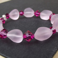 Pink Sea Glass Bracelet:  Blossom Rose Pink Fuchsia Crystal Beaded Memory Wire Wrap Cuff Bracelet, Beach Wedding Jewelry