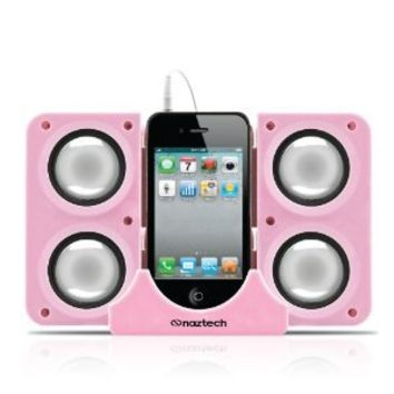 Naztech N40-11916 Portable Speaker System Dock for iPhone/BlackBerry/HTC/Samsung - Retail Packaging - Pink