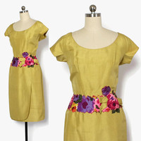 Vintage 50s Syano Silk DRESS / 1950s Chartreuse Floral Applique & Bow Wiggle Dress