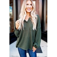 Down To Snuggle Waffle Top (Olive)
