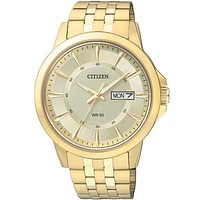 Citizen Quartz Mens Day/Date Watch - Gold-Tone Case - Champagne Dial
