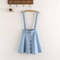 Denim Light Blue Straps Button Skirt
