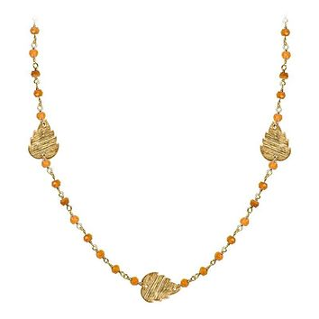 """CHG-200-CN-18"""" 18K Gold Overlay Necklace With Carnelian"""