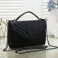 YSL Yves Saint Laurent Women Shopping Fashion Leather Chain Satchel Shoulder Bag Crossbody-5