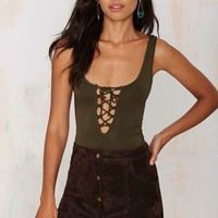 Tie Me Up Lace-Up Bodysuit - Olive