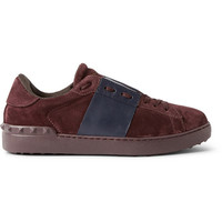 Valentino - Striped Suede Sneakers | MR PORTER