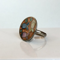 Vintage Sterling Silver Mid Century Ring 60s Artisan Modernist Mother of Pearl Fish Ring Antique Copper Inlay Enamel Ring Estate Jewelry MOP