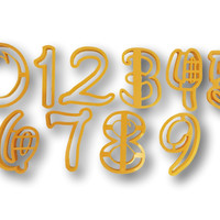 Number zero to Nine all Numbers in Comic Font Cookie Cutter - 10 items - Beautiful set