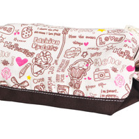 Happiness White-Dark Brown Printed Canvas Makeup Cosmetic Pouch WAS_06