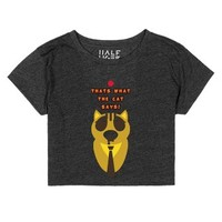 Thats What The Cat Says!-Female Heather Onyx T-Shirt