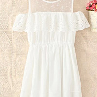 White Off Shoulder Mesh Summer Dress