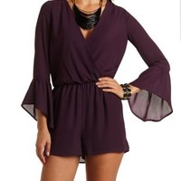 Bell Sleeve Chiffon Romper by Charlotte Russe - Eggplant